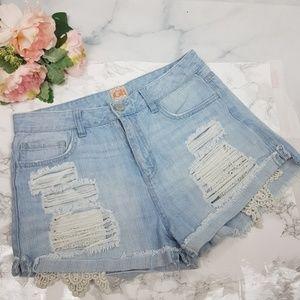 GB | Distressed High Rise Cut-off Jean Shorts